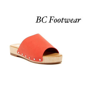 NIB BC Footwear 7.5 Vegan Orange Dash Slide Sandal
